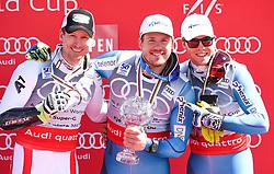 16.03.2017, Aspen, USA, FIS Weltcup Ski Alpin, Finale 2017, SuperG, Herren, Siegerehrung, im Bild Hannes Reichelt (AUT, Sieger und 2.Platz Super G Weltcup),Kjetil Jansrud (NOR, Sieger Super G Weltcup),Aleksander Aamodt Kilde (NOR, dritter Platz Super G Wold Cup) // Winner of the Race and second Place Supe G World CupHannes Reichelt of AustriaWinner of the Super G World Cup Kjetil Jansrud of Norwaythird Place of the Super G World Cup Aleksander Aamodt Kilde of Norway during the winner award ceremony for the men's Super-G of 2017 FIS ski alpine world cup finals. Aspen, United Staates on 2017/03/16. EXPA Pictures © 2017, PhotoCredit: EXPA/ Erich Spiess