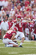 FAYETTEVILLE, AR - SEPTEMBER 5:  Cole Hedlund #9 of the Arkansas Razorbacks kicks a extra point against the UTEP Miners at Razorback Stadium on September 5, 2015 in Fayetteville, Arkansas.  The Razorbacks defeated the Miners 48-13.  (Photo by Wesley Hitt/Getty Images) *** Local Caption *** Cole Hedlund