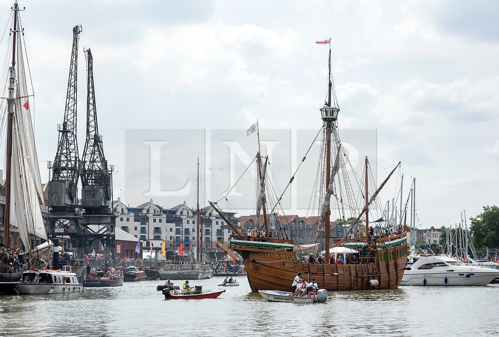 © Licensed to London News Pictures.  21/07/2018; Bristol, UK. Bristol Harbour Festival. The Matthew, replica of the ship that first discovered Newfoundland, sailed by John Cabot from Bristol. People enjoy the good weather during the Bristol Harbour Festival in the city centre of Bristol. Bristol Harbour Festival is a 3 day extravaganza of dance, music, theatre, circus, ships and boats, arts and delicious food. The festival is free for all and brings over 250,000 people together each summer to celebrate Bristol's rich maritime history and enjoy some of the city's best music and entertainment. The festival takes place on the  20 - 22 July 2018. Photo credit: Simon Chapman/LNP