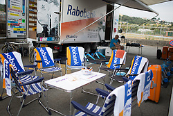 The chairs await for all the Rabo-Liv Cycling Team riders before the Giro Rosa 2016 - Stage 7. A 21.9 km individual time trial from Albisola to Varazze, Italy on July 8th 2016.