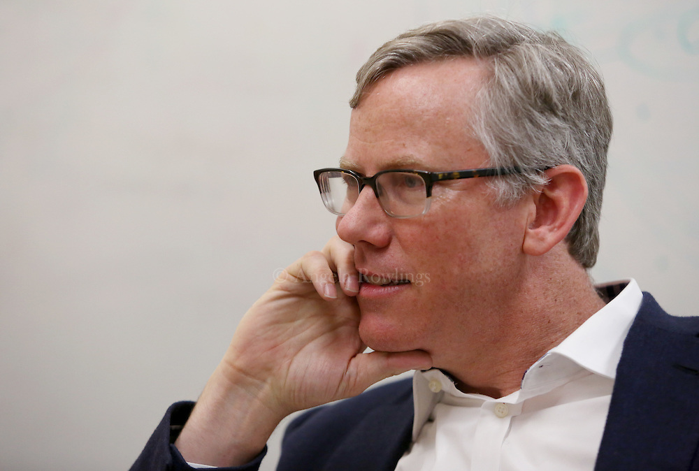 (Cambridge, MA - 5/19/15) Brian Halligan, a co-founder of HubSpot, talks with a reporter, Tuesday, May 19, 2015. Staff photo by Angela Rowlings.