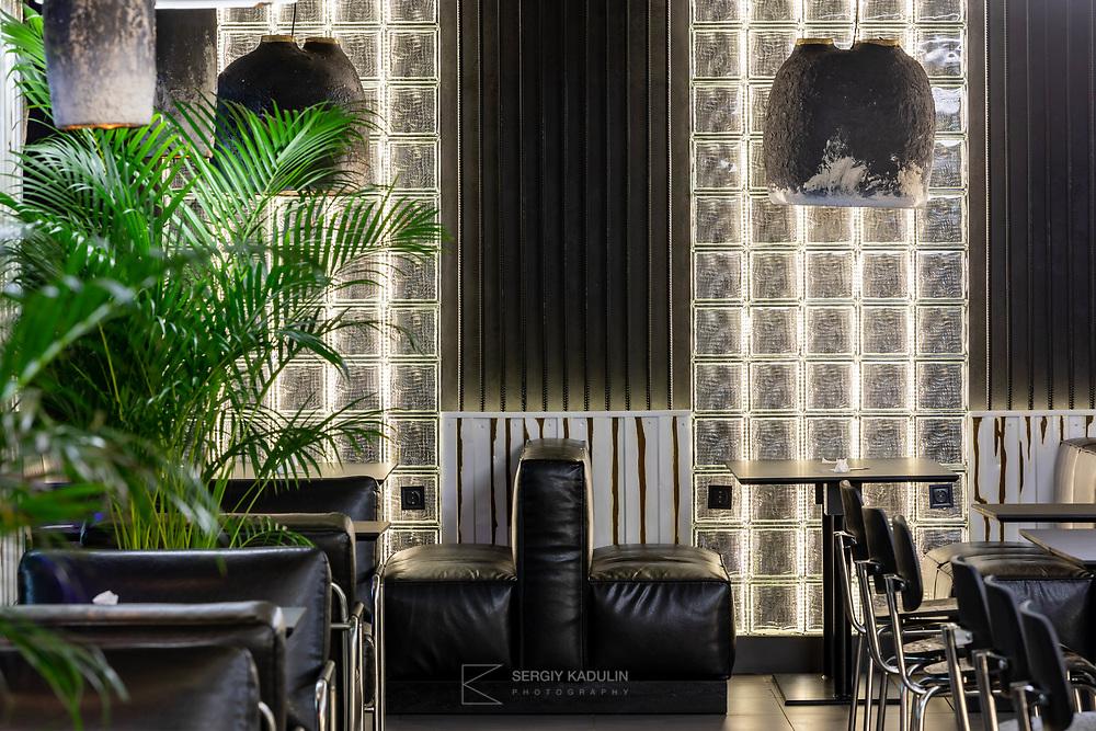 "Interior photoshoot of ""Kofan"" restaurant in Kremenchuk.<br /> Interior design: Sergiy Makhno Architects."