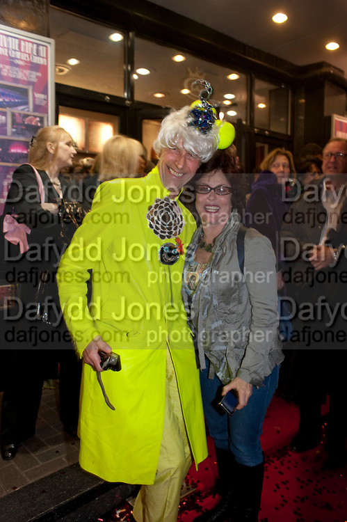ANDREW LOGAN; RUBY WAX,-  Premiere of 'The British Guide to Showing Off' Jes Benstock's documantary on Andrew Logan's life and 12 Alternative Miss World's. Prince Charles cinema, Leicester Place. London and afterward's at Moonlighting, Greek St. London. 6 November 2011. <br /> <br />  , -DO NOT ARCHIVE-© Copyright Photograph by Dafydd Jones. 248 Clapham Rd. London SW9 0PZ. Tel 0207 820 0771. www.dafjones.com.