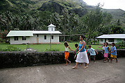 Schoolchildren, Hanavave, Island of Fatu Hiva, Marquesas Islands, French Polynesia, (Editorial use only)<br />