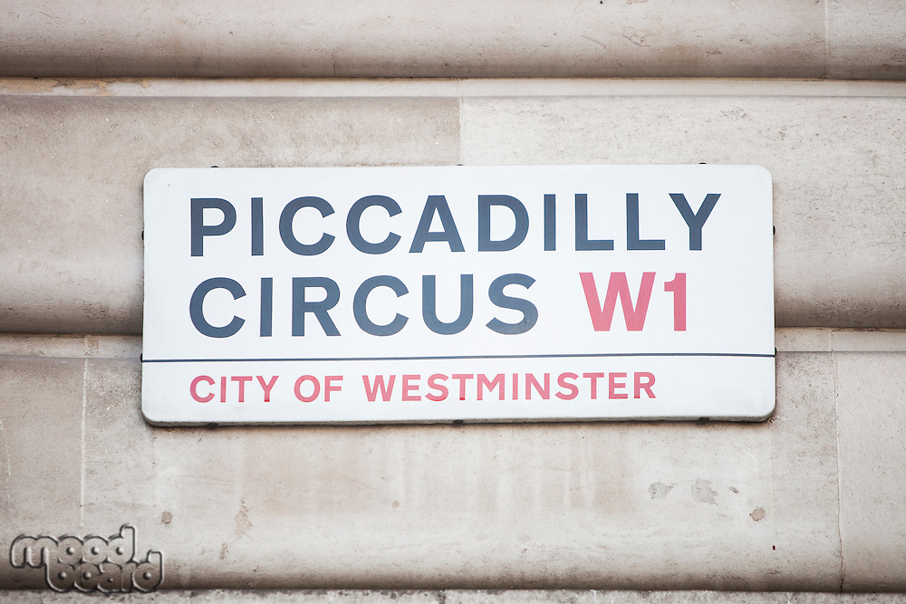 Close-up of Piccadilly Circus signboard