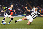 Dundee's Kevin McBride takes on St Mirren's Jim Goodwin  - St Mirren v Dundee, Clydesdale Bank Scottish Premier League at St Mirren Park.. - © David Young - www.davidyoungphoto.co.uk - email: davidyoungphoto@gmail.com