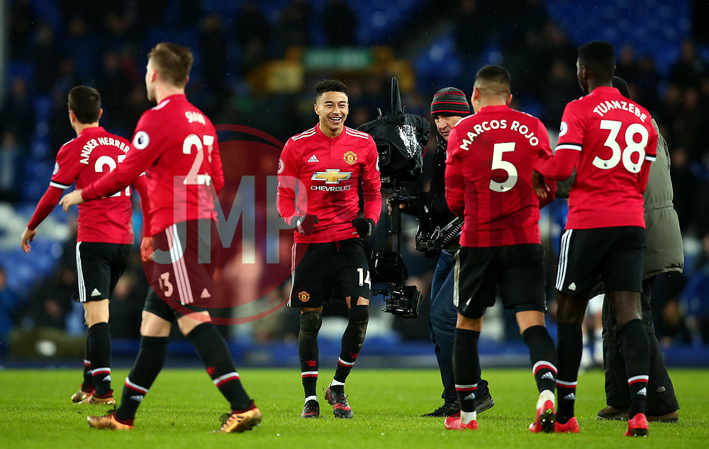 Jesse Lingard of Manchester United celebrates his side's win over Everton - Mandatory by-line: Robbie Stephenson/JMP - 01/01/2018 - FOOTBALL - Goodison Park - Liverpool, England - Everton v Manchester United - Premier League