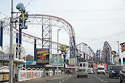 The rollercoasters of Blackpool Pleasure Beach from Bond Street, Blackpool, Lancashire, England, United Kingdom. The famous sea side amusement park resort was founded in 1896 and is one of the most visited tourist attractions in the United Kingdom. The park holds the largest number of roller coasters of any park in the United Kingdom.  (photo by Andrew Aitchison / In pictures via Getty Images)