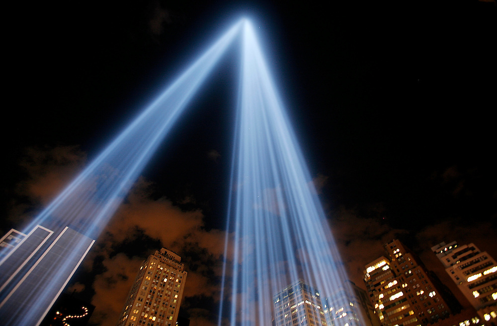 "The ""Tribute in Light"" beams shine high into the lower Manhattan sky on the 5th anniversary of the September 11 terrorists attack."