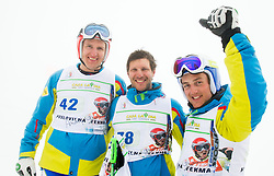 Andrej Sporn, Andrej Jerman and Rok Perko during last race of A.  Jerman, Slovenian best downhill skier when he finished his professional alpine ski career on April 6, 2013 in Krvavec Ski resort, Slovenia. (Photo By Vid Ponikvar / Sportida)