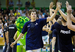 Jaka Klobucar of Slovenia during friendly basketball match between National teams of Slovenia and Australia, on August 3, 2015 in Arena Tri lilije, Lasko, Slovenia. Photo by Vid Ponikvar / Sportida