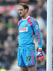 David Button Goalkeeper Brentford, Derby County v Brentford, Sy Bet Championship, IPro Stadium, Saturday 11th April 2015. Score 1-1,  (Bent 92) (Pritchard 28)<br /> Att 30,050