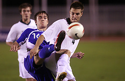 Mika Ojala of Finland and Rok Elsner of Slovenia during the Qualifications for UEFA U-21 EC 2009 soccer match between Slovenia and Finland at Velenje stadion At lake, on September 9,2008, in Velenje, Slovenia.  (Photo by Vid Ponikvar / Sportal Images)