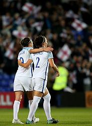 Jodie Taylor of England celebrates with Lucy Bronze - Mandatory by-line: Matt McNulty/JMP - 19/09/2017 - FOOTBALL - Prenton Park - Birkenhead, United Kingdom - England v Russia - FIFA Women's World Cup Qualifier