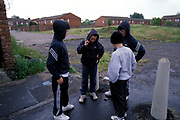 Group of boys wearing hoodies hanging out near some houses