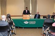 Ohio University President Roderick McDavis addresses faculty members during the Presidential Teacher Awards in the Multicultural Center on Sept. 23, 2014. Photo by Lauren Pond