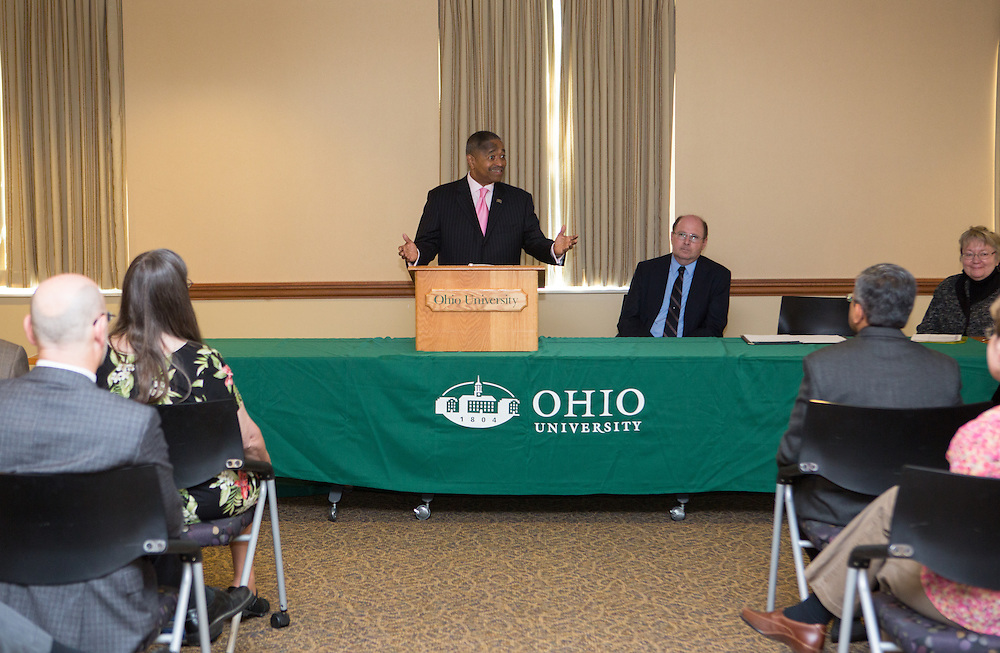 Ohio University President Roderick McDavis addresses faculty members during the Presidential Teacher Awards in the Multicultural Center on Sept. 23, 2014. Photo by Lauren Pond