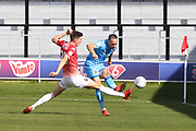 Jake Beesley and Chris Hussey  during the EFL Sky Bet League 2 match between Salford City and Cheltenham Town at Moor Lane, Salford, United Kingdom on 14 September 2019.
