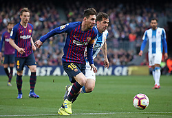 March 30, 2019 - Barcelona, Catalonia, Spain - Leo Messi and Victor Sanchez during the match between FC Barcelona and RCD Espanyol, corresponding to the week 29 of the Liga Santander, played at the Camp Nou Stadium, on 30th March 2019, in Barcelona, Spain. (Credit Image: © Joan Valls/NurPhoto via ZUMA Press)