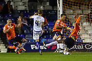 Andrew Tutte of Bury shoots during the Sky Bet League 2 match at Kenilworth Road, Luton<br /> Picture by David Horn/Focus Images Ltd +44 7545 970036<br /> 19/08/2014