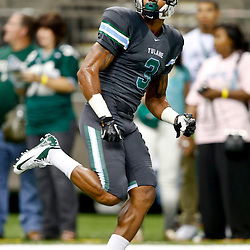Aug 29, 2013; New Orleans, LA, USA; Tulane Green Wave wide receiver Ryan Grant (3) warms up before a game against the Jackson State Tigers at the Mercedes-Benz Superdome. Mandatory Credit: Derick E. Hingle-USA TODAY Sports