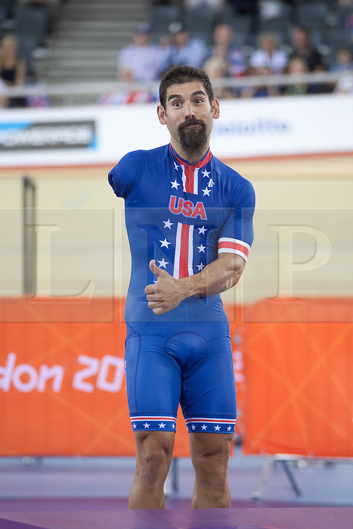 © London News Pictures. 31/08/2012. Stratford, London, UK. Joseph Berenyi - USA - men's individual C3 pursuit gold medal winner. Photo credit should read Manu Palomeque/LNP