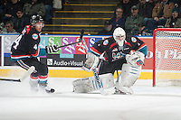 KELOWNA, CANADA - DECEMBER 5: Jackson Whistle #1 of Kelowna Rockets defends the net against the Prince George Cougars on December 5, 2014 at Prospera Place in Kelowna, British Columbia, Canada.  (Photo by Marissa Baecker/Shoot the Breeze)  *** Local Caption *** Jackson Whistle;