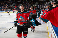 KELOWNA, BC - NOVEMBER 30: Sean Comrie #3 of the Kelowna Rockets celebrates a second period goal against the Prince George Cougars at Prospera Place on November 30, 2019 in Kelowna, Canada. (Photo by Marissa Baecker/Shoot the Breeze)