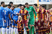 The two teams meet and shake hands prior to the EFL Sky Bet League 1 match between Bradford City and Gillingham at the Northern Commercials Stadium, Bradford, England on 24 March 2018. Picture by Mick Atkins.