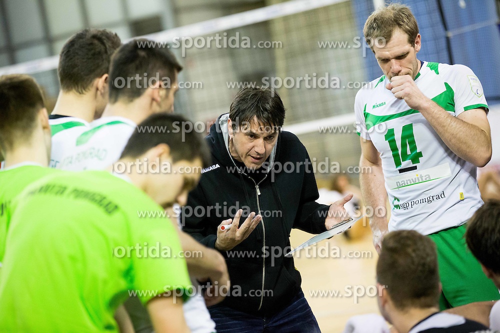 Dejan Fujs, head coach of Ponvita during volleyball game between OK ACH Volley and OK Panvita Pomgrad in 1st final match of Slovenian National Championship 2013/14, on April 6, 2014 in Arena Tivoli, Ljubljana, Slovenia. Photo by Vid Ponikvar / Sportida