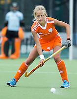 EINDHOVEN - Lauren Stam, zaterdag bij de oefenwedstrijd tussen het Nederlands team van Jong Oranje Dames en dat van de Vernigde Staten. Volgende week gaat het WK-21 in Duitsland van start. FOTO KOEN SUYK