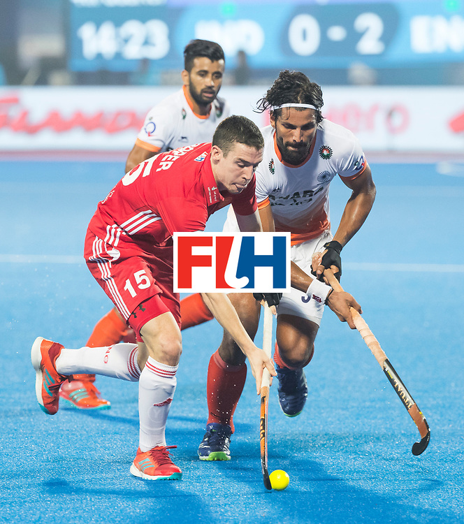 BHUBANESWAR - The Odisha Men's Hockey World League Final . Match ID 06 . India v England. Phil Roper (Eng)  with Rupinder Pal Singh (Ind).   WORLDSPORTPICS COPYRIGHT  KOEN SUYK