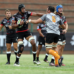 Hyron Andrews of the Cell C Sharks holds off Francois Uys of the Toyota Cheetahs during The Cell C Sharks Pre Season warm up game 1,The Cell C Sharks B and the Toyota Cheetahs B,at King Zwelithini Stadium, Umlazi, Durban, South Africa. Friday, 3rd February 2017 (Photo by Steve Haag)