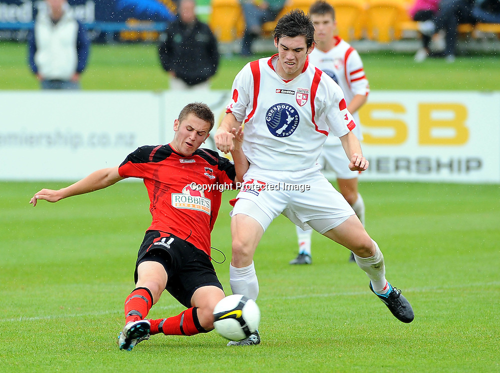 Waitakere`s Ross Haviland(R) and Canterbury`s Shawn O`Brien during the ASB Youth League Final Canterbury United v Waitakere United at Linfield Park, Christchurch, New Zealand, Sunday 19 December 2010. Photo: Chris Symes www.photosport.co.nz
