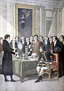 Alessandro Volta (1725-1827) Italian physicist, demonstrating his pile (battery) to Napleon. From 'Le Petit Journal', Paris, 1901.