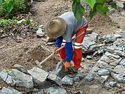 manual labour road construction near Duoyishu village, Yuanyang County, in Honghe Prefecture in southeastern Yunnan province, China,