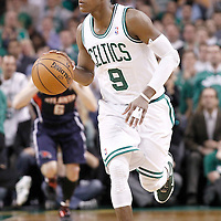 10 May 2012: Boston Celtics point guard Rajon Rondo (9) brings the ball upcourt during the Boston Celtics 83-80 victory over the Atlanta Hawks, in Game 6 of the Eastern Conference first-round playoff series, at the TD Banknorth Garden, Boston, Massachusetts, USA.
