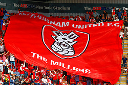 A giant Rotherham United flag is passed around in the stands of the Aesseal New York Stadium - Mandatory by-line: Ryan Crockett/JMP - 11/08/2018 - FOOTBALL - Aesseal New York Stadium - Rotherham, England - Rotherham United v Ipswich Town - Sky Bet Championship