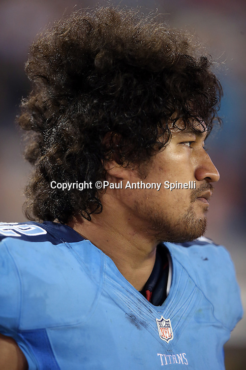 Tennessee Titans defensive end Ropati Pitoitua (92) looks on from the sideline during the 2015 week 11 regular season NFL football game against the Jacksonville Jaguars on Thursday, Nov. 19, 2015 in Jacksonville, Fla. The Jaguars won the game 19-13. (©Paul Anthony Spinelli)