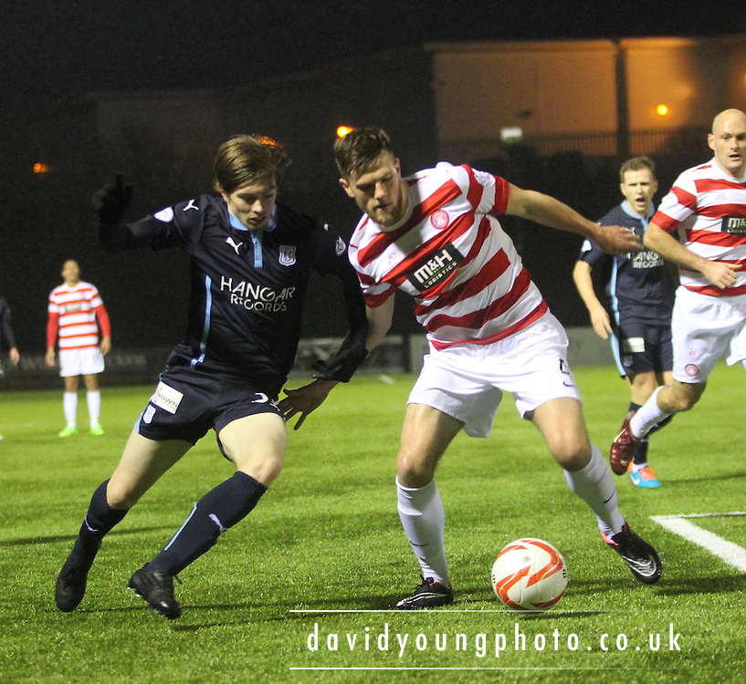 Dundee's Craig Wighton takes on Hamilton's Martin Canning -  Hamilton Academical v Dundee, SPFL Premiership at New Douglas Park<br /> <br />  - &copy; David Young - www.davidyoungphoto.co.uk - email: davidyoungphoto@gmail.com