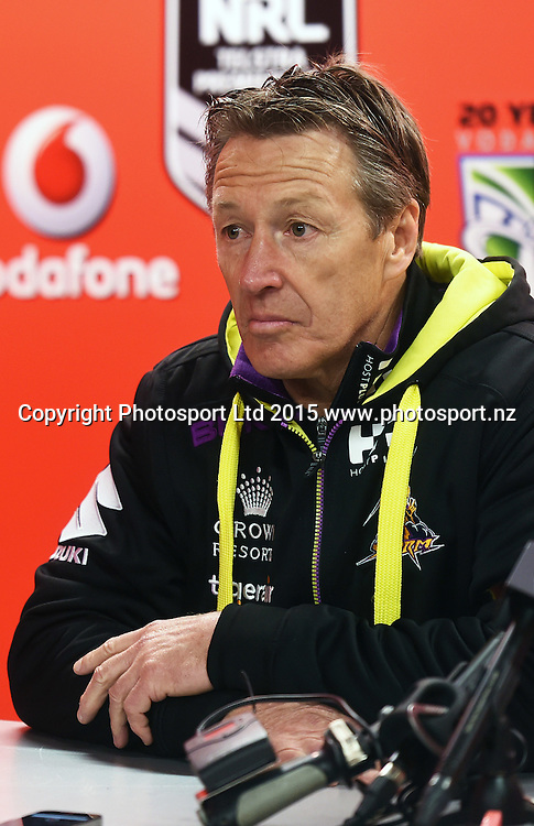 Storm Coach Graig Bellamy during the NRL Rugby League match between the Vodafone Warriors and The Melbourne Storm at Mt Smart Stadium, Auckland, New Zealand. Sunday 12 July 2015. Copyright Photo: Andrew Cornaga / www.Photosport.nz