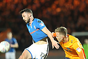Bradden Inman is fouled during the EFL Sky Bet League 1 match between Rochdale and Oldham Athletic at Spotland, Rochdale, England on 17 April 2018. Picture by Daniel Youngs.