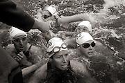 The finish line at the 2005 Liffey Swim, Dublin, Ireland, September 2005.