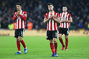 George Baldock claps the Sheffield United fans after the Premier League match between Sheffield United and Manchester City at Bramall Lane, Sheffield, England on 21 January 2020.