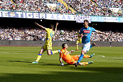 April 8, 2018 - Napoli, Napoli, Italy - Naples - Italy 08/04/2018.ARKADIUSZ MILIK of S.S.C. NAPOLI and SORRENTINO STEFANO of CHIEVO VERONA  during SERIE A  match between S.S.C. NAPOLI and CHIEVO VERONA   at Stadio San Paolo of Naples. .Final scores S.S.C. NAPOLI -CHIEVO VERONA 2-1  (Credit Image: © Emanuele Sessa/Pacific Press via ZUMA Wire)