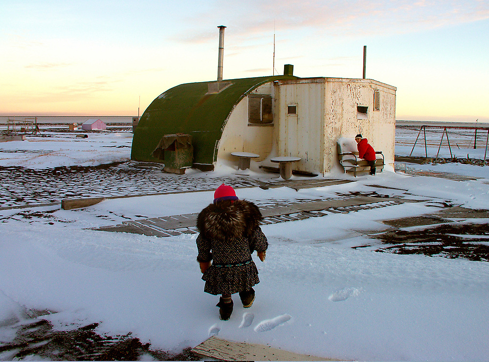 Barrow, Alaska. Quonset Hut used as a summer cabin at Pignik, a duck hunting station in Barrow.