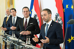 06.03.2019, Bundeskanzleramt, Wien, AUT, Bundesregierung, Pressefoyer nach Sitzung des Ministerrats, im Bild Justizminister Josef Moser (ÖVP), Bundeskanzler Sebastian Kurz (ÖVP), Vizekanzler Heinz-Christian Strache (FPÖ) und Innenminister Herbert Kickl (FPÖ) // Austrian Minister for Justice Josef Moser, Austrian Federal Chancellor Sebastian Kurz, Austrian Vice Chancellor Heinz-Christian Strache and Austrian Minister for the Interior Herbert Kickl during media briefing after cabinet meeting at federal chancellors office in Vienna, Austria on 2019/03/06 EXPA Pictures © 2019, PhotoCredit: EXPA/ Michael Gruber