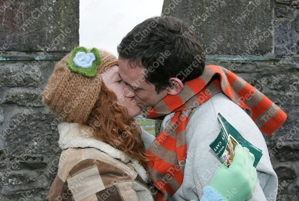 Kevin Murphy Los Angeles  who proposed to his girlfriend and Elena Alman Los Angeles on the roof of Bunratty Castle. Pic Sean Curtin Press 22.