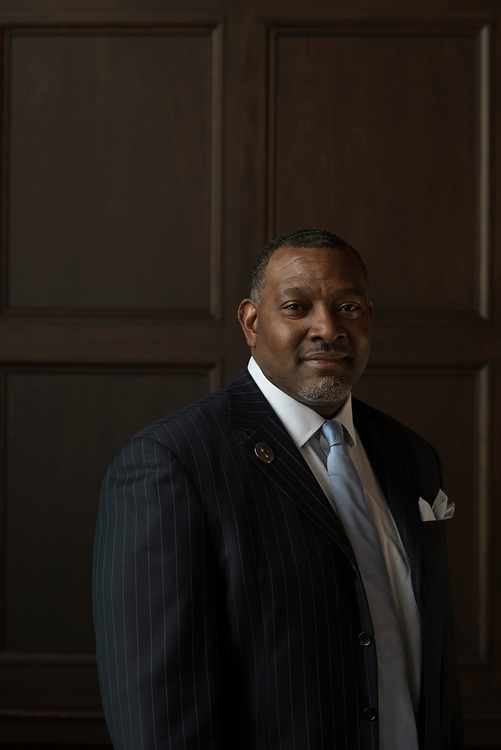 Portrait of Pittsburgh Public Schools superintendent Dr Anthony Hamlet in the board room at the Board of Education in Oakland.