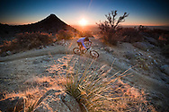 rider kevin lange on trail 365.  sandia mountain foothills, albuquerque, new mexico.